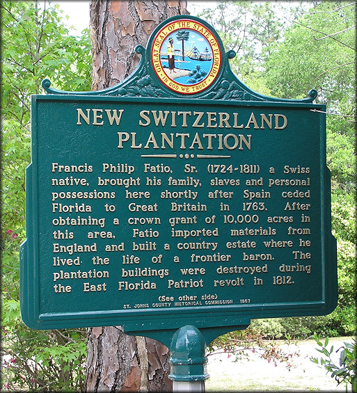 New Switzerland Plantation historical marker in Switzerland along State Road 13