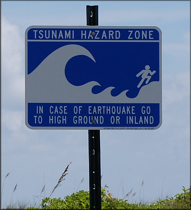 U. S. Navy Tsunami Warning Sign At Mayport Naval Station