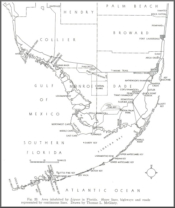 South Florida Liguus Habitat Map [from Pilsbry, 1946]