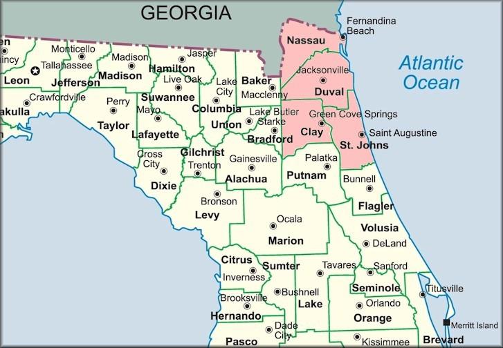 Map Northeast Florida.Northeast Florida Terrestrial Mollusks Checklist